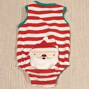 Size 000 SPROUT red and white onesie with Santa